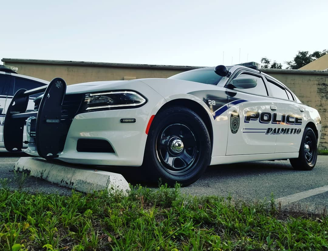 Dodge Charger police package with light bar, push bumper and Palmetto Police Department striping on